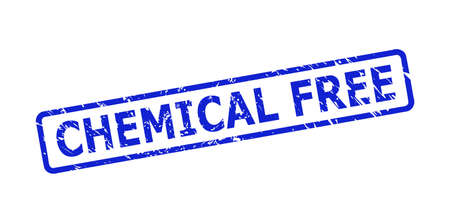 Blue CHEMICAL FREE seal stamp on a white background. Flat vector distress seal stamp with CHEMICAL FREE title is inside rounded rectangular frame. Watermark with corroded surface.