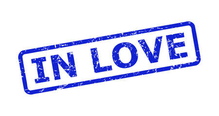 Blue IN LOVE seal stamp on a white background. Flat vector scratched seal stamp with IN LOVE title is inside rounded rectangle frame. Rubber imitation with corroded texture.
