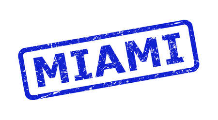 Blue MIAMI seal stamp on a white background. Flat vector grunge seal stamp with MIAMI text is placed inside rounded rectangular frame. Rubber imitation with grunge style.