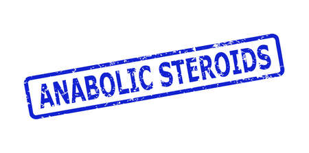 Blue ANABOLIC STEROIDS seal stamp on a white background. Flat vector scratched seal stamp with ANABOLIC STEROIDS message is inside rounded rectangular frame. Imprint with distress style.