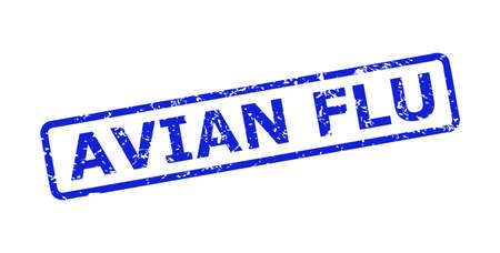 Blue AVIAN FLU seal stamp on a white background. Flat vector grunge seal stamp with AVIAN FLU text is placed inside rounded rect frame. Rubber imitation with corroded style.