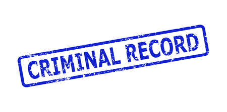 Blue CRIMINAL RECORD stamp seal on a white background. Flat vector grunge seal stamp with CRIMINAL RECORD caption is inside rounded rect frame. Imprint with unclean surface.
