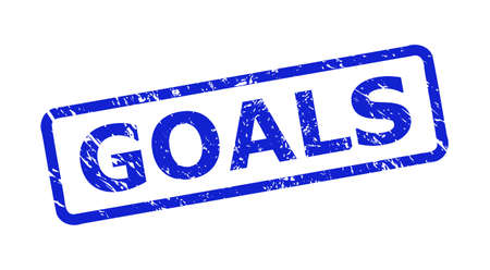 Blue GOALS seal on a white background. Flat vector scratched seal stamp with GOALS caption is placed inside rounded rect frame. Watermark with scratched style.