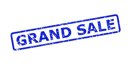 Blue GRAND SALE stamp seal on a white background. Flat vector grunge seal stamp with GRAND SALE phrase is inside rounded rectangle frame. Watermark with scratched surface.