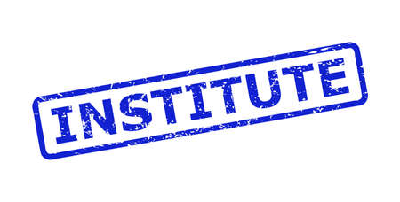Blue INSTITUTE watermark on a white background. Flat vector grunge watermark with INSTITUTE title is inside rounded rectangular frame. Rubber imitation with grunge style.
