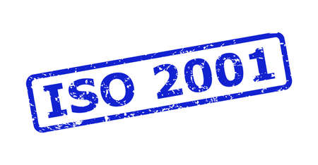 Blue ISO 2001 stamp seal on a white background. Flat vector distress seal stamp with ISO 2001 caption is placed inside rounded rect frame. Watermark with distress texture.