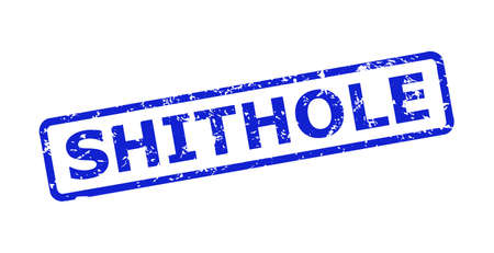 Blue SHITHOLE stamp on a white background. Flat vector grunge watermark with SHITHOLE message is placed inside rounded rect frame. Watermark with corroded surface.