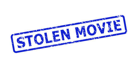 Blue STOLEN MOVIE seal stamp on a white background. Flat vector scratched seal stamp with STOLEN MOVIE message is placed inside rounded rect frame. Rubber imitation with corroded surface.