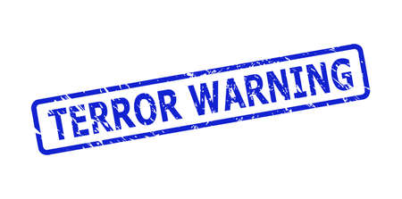 Blue TERROR WARNING seal stamp on a white background. Flat vector scratched seal stamp with TERROR WARNING phrase is inside rounded rectangle frame. Watermark with scratched texture.