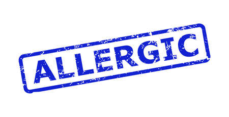 Blue ALLERGIC seal stamp on a white background. Flat vector distress watermark with ALLERGIC phrase is inside rounded rectangular frame. Watermark with unclean style.