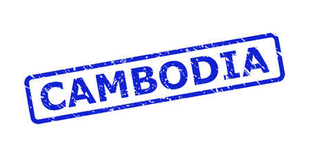 Blue CAMBODIA stamp seal on a white background. Flat vector textured stamp with CAMBODIA text is placed inside rounded rect frame. Rubber imitation with unclean texture. 向量圖像