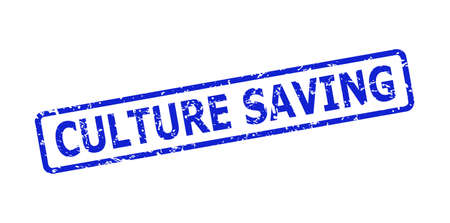 Blue CULTURE SAVING stamp seal on a white background. Flat vector distress seal stamp with CULTURE SAVING caption is placed inside rounded rectangular frame. Imprint with unclean surface.