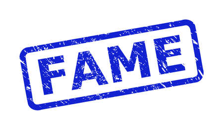 Blue FAME watermark on a white background. Flat vector grunge watermark with FAME caption is inside rounded rectangular frame. Rubber imitation with grunge style.