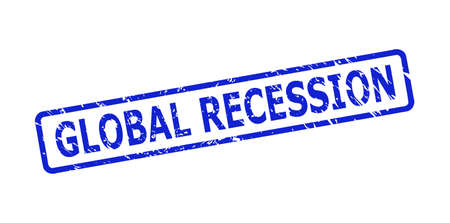Blue GLOBAL RECESSION seal stamp on a white background. Flat vector distress seal with GLOBAL RECESSION title is placed inside rounded rect frame. Watermark with distress style.
