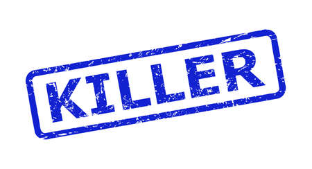 Blue KILLER stamp seal on a white background. Flat vector distress seal stamp with KILLER text is placed inside rounded rectangular frame. Watermark with corroded surface.