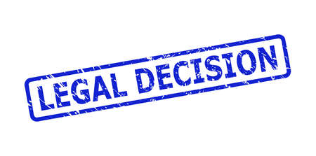 Blue LEGAL DECISION stamp on a white background. Flat vector scratched seal stamp with LEGAL DECISION message is inside rounded rectangle frame. Imprint with scratched texture.