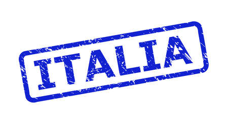Blue ITALIA watermark on a white background. Flat vector textured watermark with ITALIA phrase is placed inside rounded rectangle frame. Watermark with grunge style.