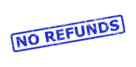 Blue NO REFUNDS seal on a white background. Flat vector grunge seal with NO REFUNDS caption is placed inside rounded rectangle frame. Imprint with corroded style.