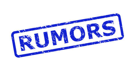Blue RUMORS stamp seal on a white background. Flat vector textured seal stamp with RUMORS text is placed inside rounded rect frame. Rubber imitation with corroded surface. Ilustracja