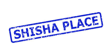 Blue SHISHA PLACE stamp seal on a white background. Flat vector grunge seal with SHISHA PLACE title is placed inside rounded rectangle frame. Imprint with scratched style.