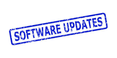 Blue SOFTWARE UPDATES seal stamp on a white background. Flat vector distress stamp with SOFTWARE UPDATES message is placed inside rounded rectangle frame. Watermark with distress surface.