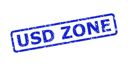 Blue USD ZONE stamp seal on a white background. Flat vector scratched seal stamp with USD ZONE title is placed inside rounded rectangular frame. Rubber imitation with scratched texture.