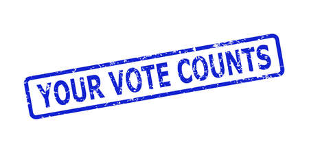 Blue YOUR VOTE COUNTS stamp seal on a white background. Flat vector textured seal stamp with YOUR VOTE COUNTS title is placed inside rounded rect frame. Imprint with grunged style.