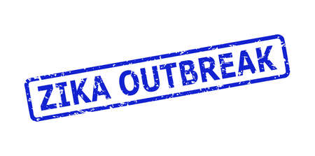 Blue ZIKA OUTBREAK seal stamp on a white background. Flat vector scratched seal stamp with ZIKA OUTBREAK text is inside rounded rect frame. Watermark with scratched texture.