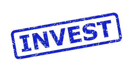 Blue INVEST stamp on a white background. Flat vector scratched watermark with INVEST phrase is placed inside rounded rectangle frame. Watermark with scratched style.
