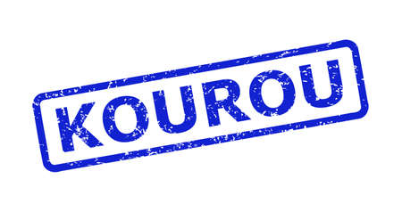 Blue KOUROU watermark on a white background. Flat vector scratched watermark with KOUROU text is placed inside rounded rectangle frame. Watermark with unclean style. Vector Illustration
