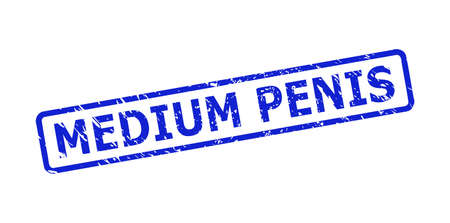 Blue MEDIUM PENIS watermark on a white background. Flat vector scratched seal stamp with MEDIUM PENIS phrase is placed inside rounded rectangle frame. Watermark with scratched style.