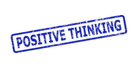 Blue POSITIVE THINKING stamp on a white background. Flat vector scratched seal stamp with POSITIVE THINKING text is inside rounded rectangular frame. Rubber imitation with scratched style.