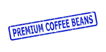 Blue PREMIUM COFFEE BEANS seal stamp on a white background. Flat vector textured seal stamp with PREMIUM COFFEE BEANS message is placed inside rounded rect frame. Imprint with unclean texture.