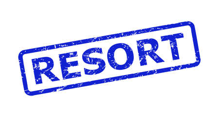 Blue RESORT seal stamp on a white background. Flat vector distress stamp with RESORT phrase is inside rounded rectangular frame. Watermark with grunge surface. 向量圖像
