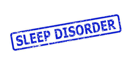Blue SLEEP DISORDER seal stamp on a white background. Flat vector grunge seal stamp with SLEEP DISORDER title is placed inside rounded rect frame. Rubber imitation with corroded style.
