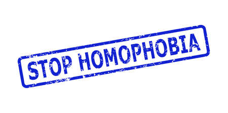 Blue STOP HOMOPHOBIA seal stamp on a white background. Flat vector grunge seal stamp with STOP HOMOPHOBIA message is placed inside rounded rect frame. Rubber imitation with unclean style. Vektorové ilustrace