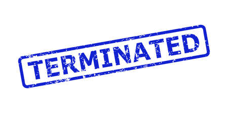 Blue TERMINATED stamp seal on a white background. Flat vector scratched watermark with TERMINATED caption is inside rounded rectangular frame. Watermark with scratched style.