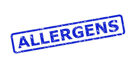 Blue ALLERGENS stamp seal on a white background. Flat vector grunge seal stamp with ALLERGENS title is placed inside rounded rect frame. Watermark with corroded texture.