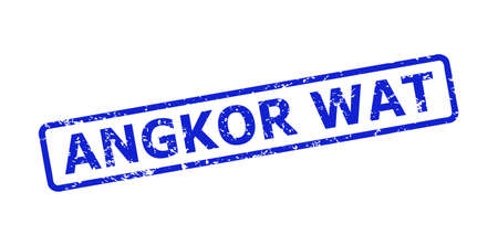 Blue ANGKOR WAT stamp seal on a white background. Flat vector distress seal stamp with ANGKOR WAT caption is inside rounded rectangular frame. Watermark with unclean texture.