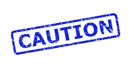 Blue CAUTION stamp on a white background. Flat vector grunge seal stamp with CAUTION text is placed inside rounded rectangle frame. Rubber imitation with grunge surface. Vektorové ilustrace