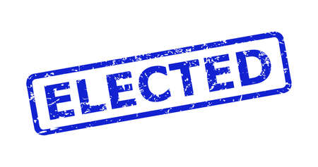 Blue ELECTED seal stamp on a white background. Flat vector distress seal stamp with ELECTED message is placed inside rounded rectangular frame. Watermark with distress texture.