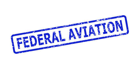 Blue FEDERAL AVIATION seal stamp on a white background. Flat vector scratched seal stamp with FEDERAL AVIATION phrase is placed inside rounded rectangle frame. Watermark with scratched texture.