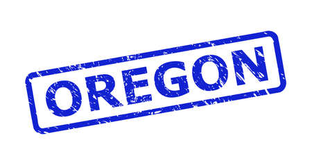Blue OREGON seal stamp on a white background. Flat vector grunge seal stamp with OREGON title is placed inside rounded rect frame. Watermark with corroded texture.