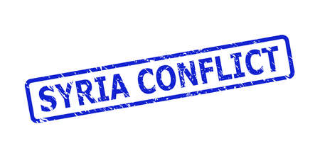Blue SYRIA CONFLICT seal stamp on a white background. Flat vector grunge seal stamp with SYRIA CONFLICT phrase is inside rounded rectangular frame. Watermark with grunge surface.