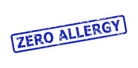 Blue ZERO ALLERGY stamp seal on a white background. Flat vector scratched seal stamp with ZERO ALLERGY title is placed inside rounded rect frame. Rubber imitation with distress style.