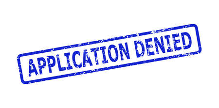 Blue APPLICATION DENIED seal stamp on a white background. Flat vector textured seal stamp with APPLICATION DENIED text is inside rounded rect frame. Imprint with corroded style.