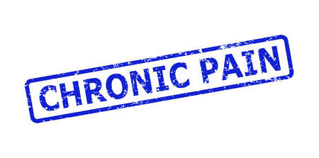 Blue CHRONIC PAIN seal stamp on a white background. Flat vector distress seal stamp with CHRONIC PAIN text is placed inside rounded rect frame. Imprint with corroded surface.