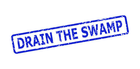 Blue DRAIN THE SWAMP seal stamp on a white background. Flat vector textured seal stamp with DRAIN THE SWAMP phrase is placed inside rounded rectangular frame. Watermark with unclean texture.