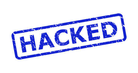 Blue HACKED stamp on a white background. Flat vector distress seal stamp with HACKED title is placed inside rounded rectangular frame. Rubber imitation with distress surface.