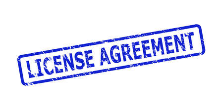Blue LICENSE AGREEMENT seal stamp on a white background. Flat vector distress seal stamp with LICENSE AGREEMENT phrase is placed inside rounded rectangle frame. Watermark with grunge surface.
